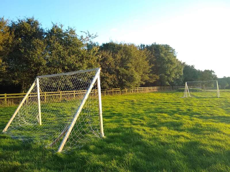 football nets in the glamping field