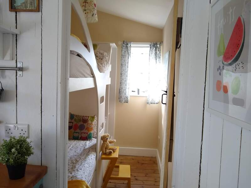 Family friendly glamping, children's bunk room in the cabin at Middle Stone Farm