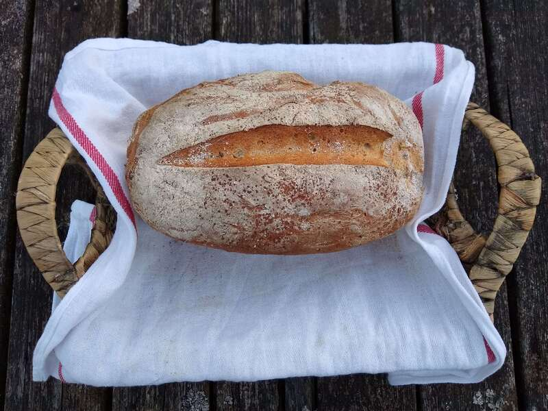 Freshly made farmhouse bread for glamping guests