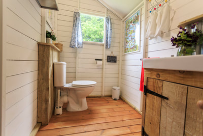 Glamping with private bathrooms and flushing toilet